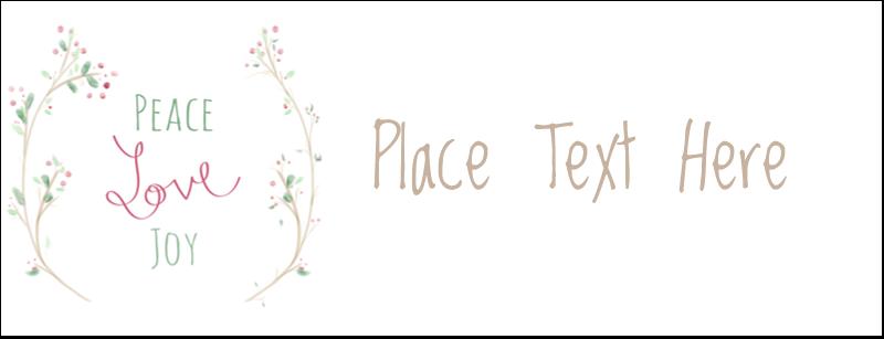 "1-7/16"" x 3¾"" Tent Card - Peace Love Joy"
