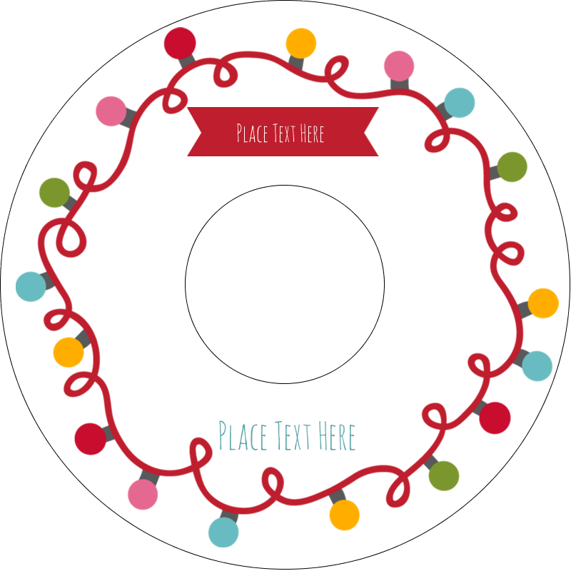 "4.65"" CD-DVD Label - Holiday Lights"