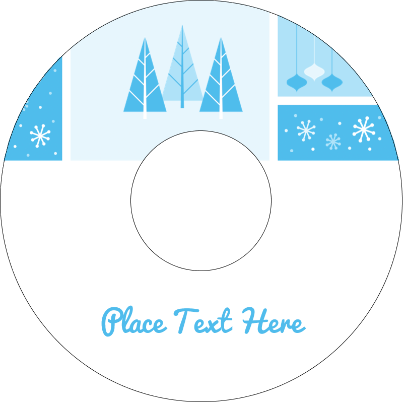"4.65"" CD-DVD Label - Retro Winter Wonderland"