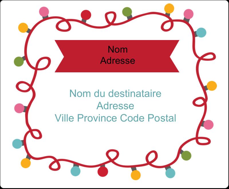 """3⅓"""" x 4"""" Étiquettes d'expédition - Les gabarits Lumières de Noël pour votre prochain projet des Fêtes"""