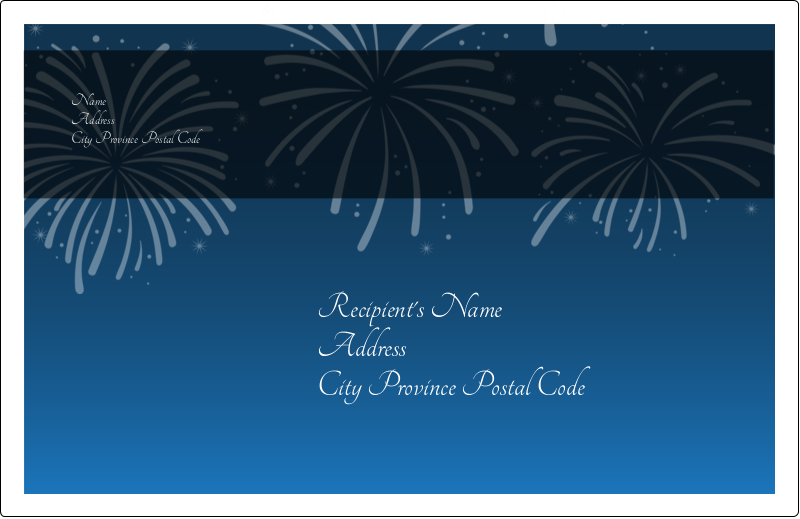 "5½"" x 8½"" Shipping Label - New Year Blue Fireworks"