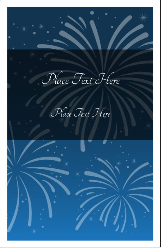 "5"" x 8½"" Half Fold Card - New Year Blue Fireworks"