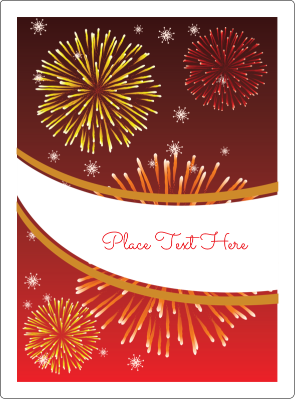 "4¾"" x 3½"" Rectangular Label - New Year Red Fireworks"
