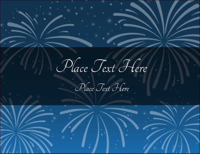 "4¼"" x 5½"" Postcard - New Year Blue Fireworks"