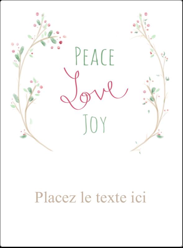"""4¾"""" x 3½"""" Étiquettes rectangulaires - Les gabarits Paix, amour et joie pour votre prochain projet créatif des Fêtes"""