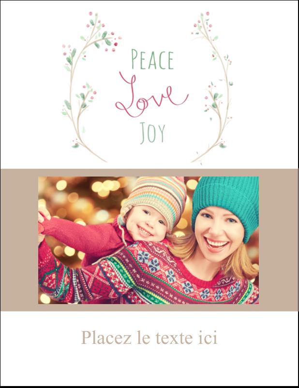 """4¼"""" X 5½"""" Carte Postale - Les gabarits Paix, amour et joie pour votre prochain projet créatif des Fêtes"""