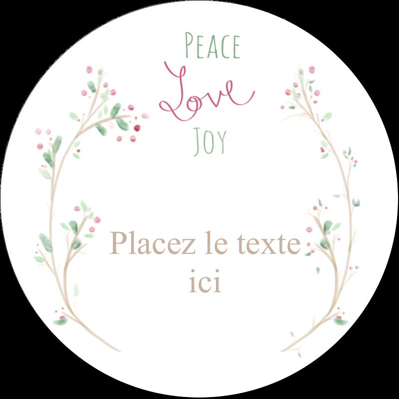"""3"""" Diameter Étiquettes rondes - Les gabarits Paix, amour et joie pour votre prochain projet créatif des Fêtes"""