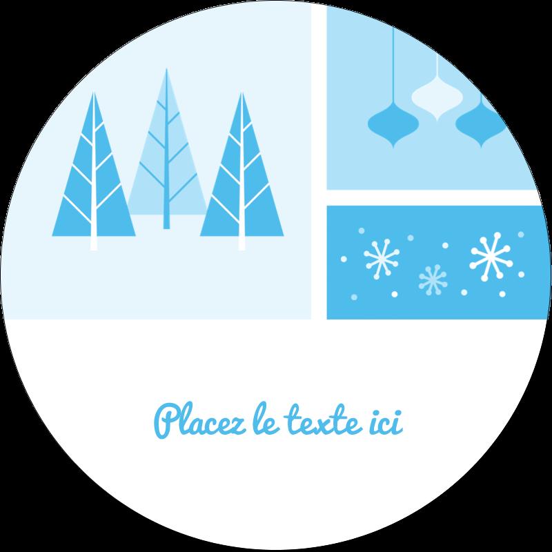 """3"""" Diameter Étiquettes rondes - Les gabarits Pays des merveilles hivernales rétro pour votre prochain projet créatif"""