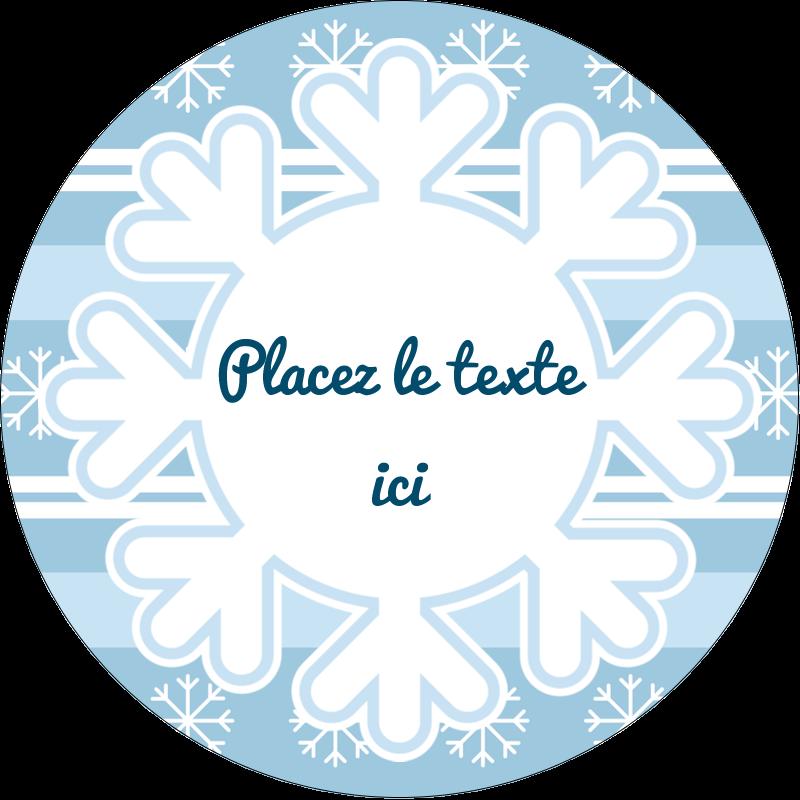 """3"""" Diameter Étiquettes rondes - Les gabarits Flocon de neige bleu pour votre prochain projet des Fêtes"""