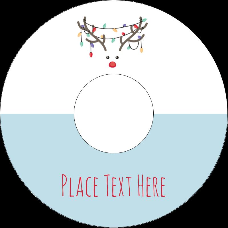 """4.65"""" CD-DVD Label - Reindeer Antler Lights"""