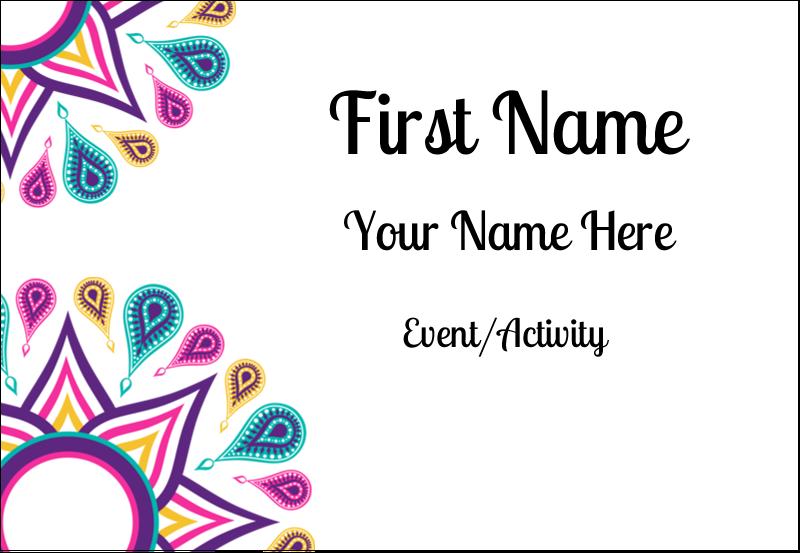 "3⅜"" x 2⅓"" Name Badge - Diwali Ribbon"