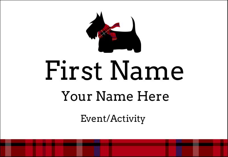 """3⅜"""" x 2⅓"""" Name Badge - Scottie Dog"""