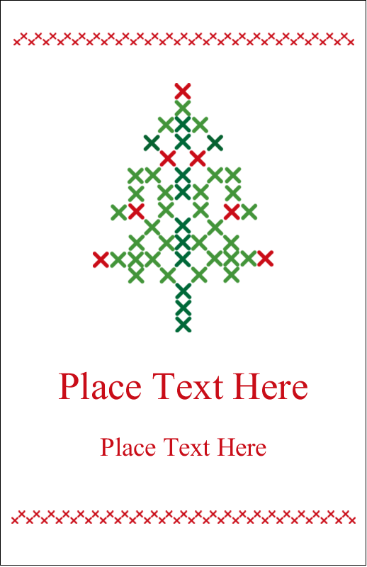 "5"" x 8½"" Half Fold Card - Cross Stitch Tree"