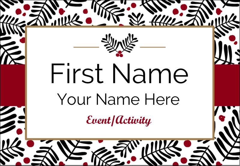 """3⅜"""" x 2⅓"""" Name Badge - Christmas Floral"""