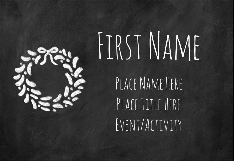 """3⅜"""" x 2⅓"""" Name Badge - Chalkboard Wreath"""