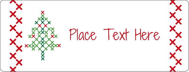 "½"" x 1¾"" Address Label - Cross Stitch Tree"