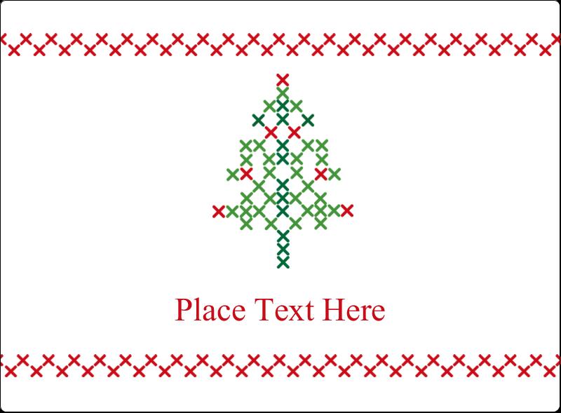 "3½"" x 4¾"" Rectangular Label - Cross Stitch Tree"