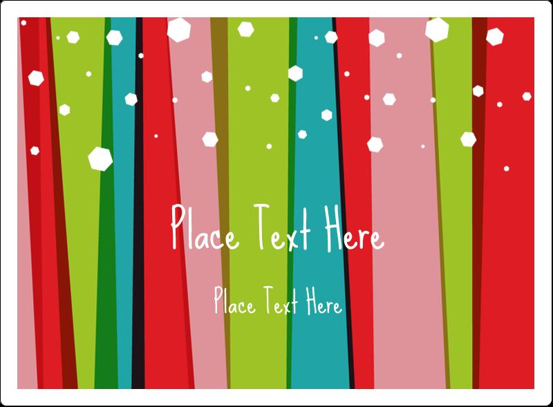 "3½"" x 4¾"" Rectangular Label - Christmas Retro Stripe"