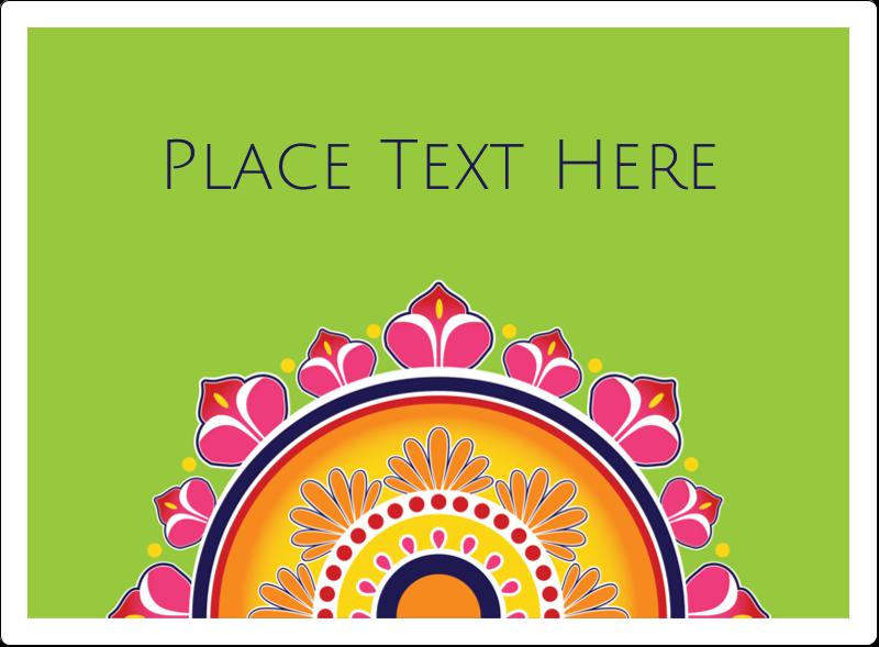 "3½"" x 4¾"" Rectangular Label - Diwali Rangoli"