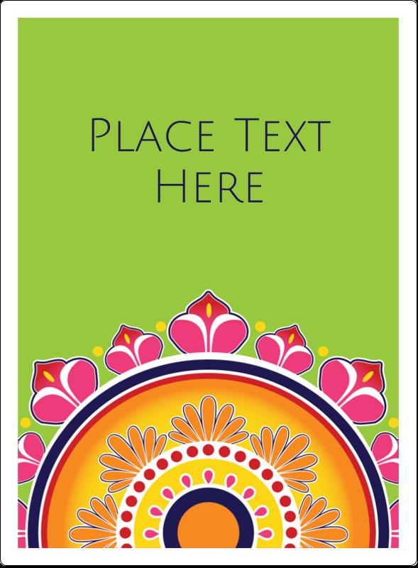 "4¾"" x 3½"" Rectangular Label - Diwali Rangoli"