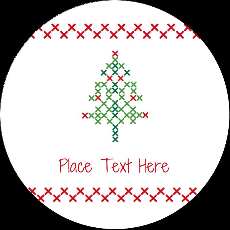 "1½"" Round Label - Cross Stitch Tree"