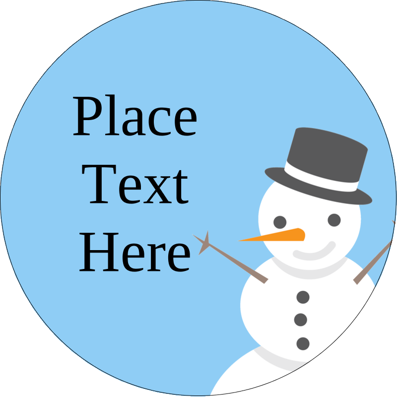 Snowman With Top Hat Predesigned Label And Card Template