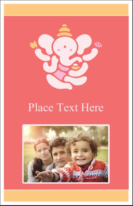 "5"" x 8½"" Half Fold Card - Diwali Ganesha"
