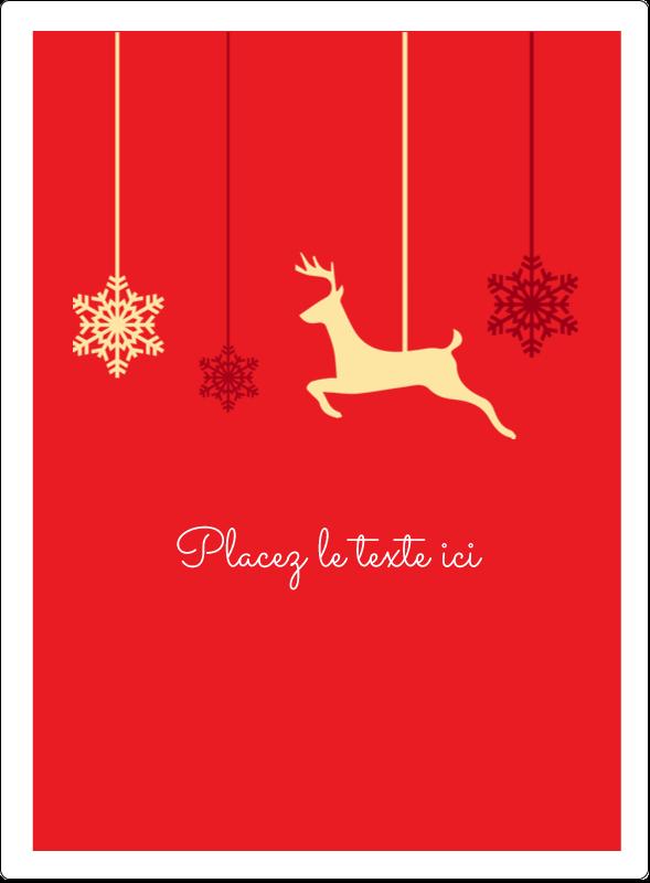 """4¾"""" x 3½"""" Étiquettes rectangulaires - Décor de renne"""