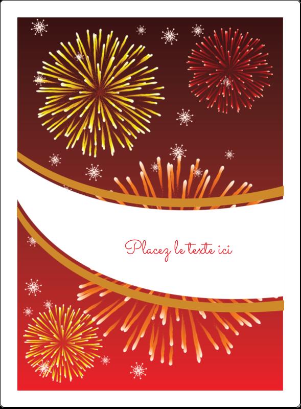 """4¾"""" x 3½"""" Étiquettes rectangulaires - Feux d'artifice rouges du Nouvel An"""