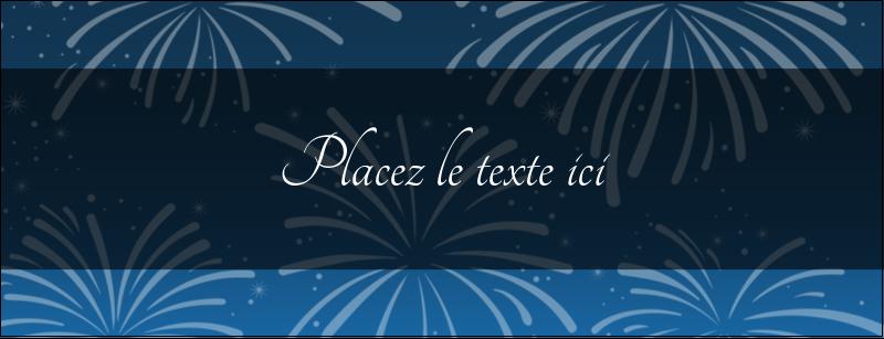 """1-7/16"""" x 3¾"""" Affichette - Feux d'artifice bleus du Nouvel An"""