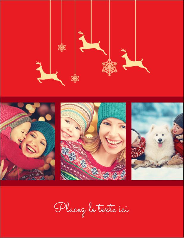 """5½"""" x 4¼"""" Carte Postale - Décor de renne"""