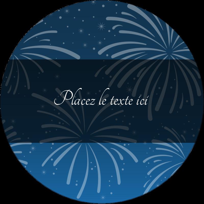 """3"""" Diameter Étiquettes rondes - Feux d'artifice bleus du Nouvel An"""