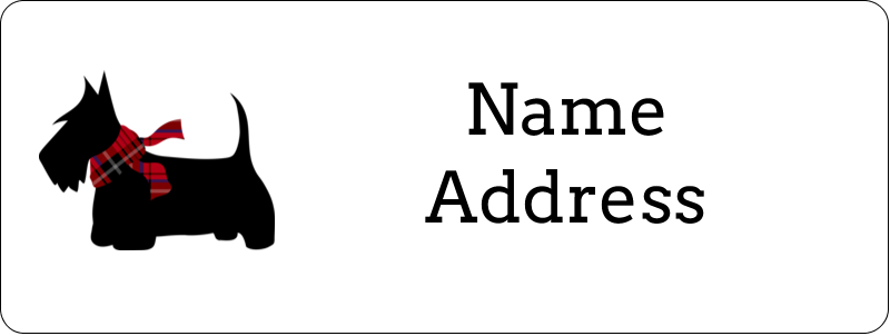 """⅔"""" x 1¾"""" Address Label - Scottie Dog"""