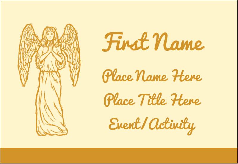 """3⅜"""" x 2⅓"""" Name Badge - Religious Woodcut"""