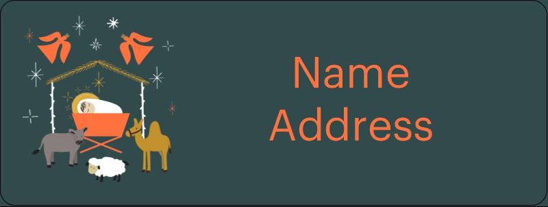"⅔"" x 1¾"" Address Label - Nativity Scene Animals"