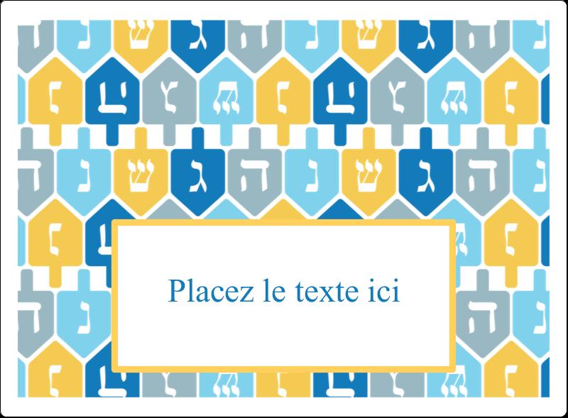 """4¾"""" x 3½"""" Étiquettes rectangulaires - Toupie de Hanoukka"""