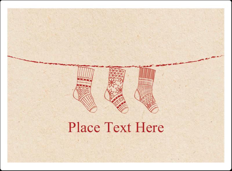 """3½"""" x 4¾"""" Rectangular Label - Hanging Stockings"""