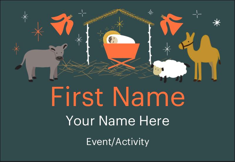 "3⅜"" x 2⅓"" Name Badge - Nativity Scene Animals"