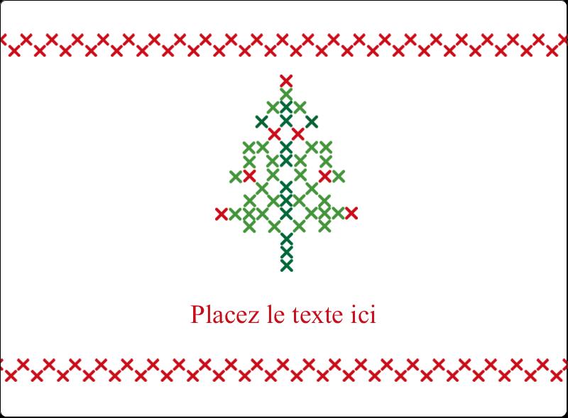 """4¾"""" x 3½"""" Étiquettes rectangulaires - Sapin en point de croix"""