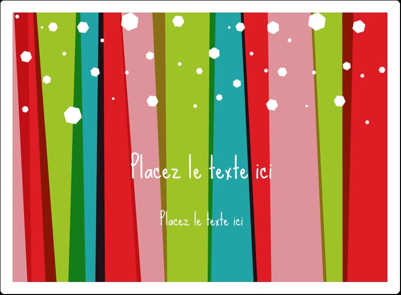 """4¾"""" x 3½"""" Étiquettes rectangulaires - Rayures de Noël rétro"""
