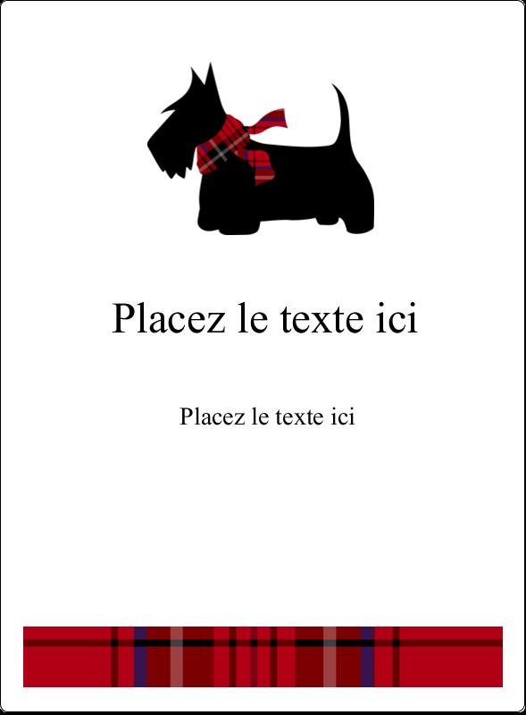 """4¾"""" x 3½"""" Étiquettes rectangulaires - Terrier écossais"""