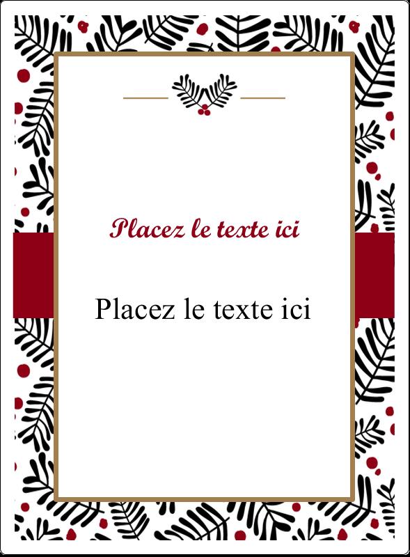 """4¾"""" x 3½"""" Étiquettes rectangulaires - Fleurs de Noël"""