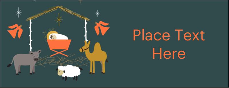 "1-7/16"" x 3¾"" Tent Card - Nativity Scene Animals"