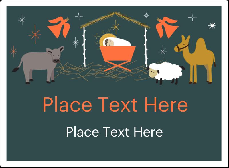 "3½"" x 4¾"" Rectangular Label - Nativity Scene Animals"