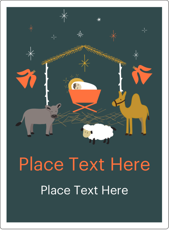 "4¾"" x 3½"" Rectangular Label - Nativity Scene Animals"