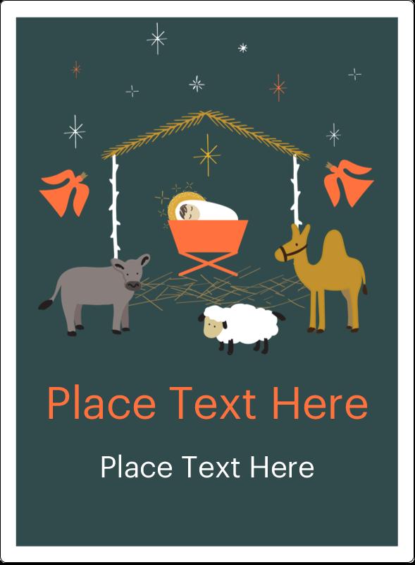 "4¾"" x 3½"" Rectangular Label - Nativity Scene Animals"