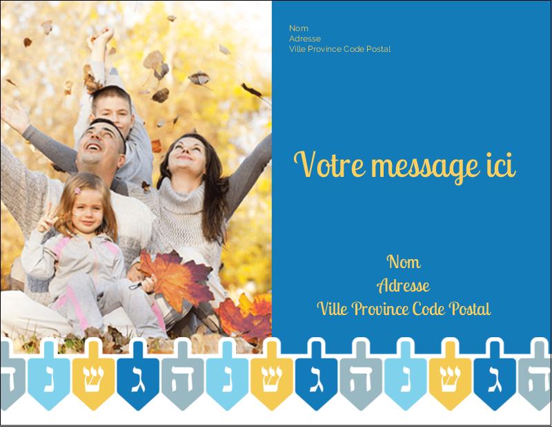 "5½"" x 4¼"" Carte Postale - Toupie de Hanoukka"