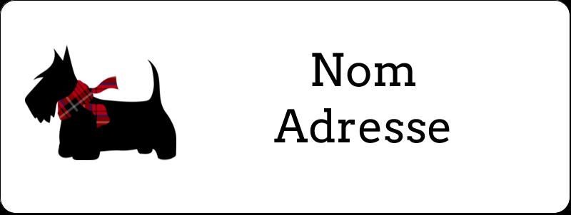 """⅔"""" x 1¾"""" Étiquettes D'Adresse - Terrier écossais"""