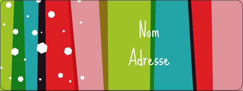 """⅔"""" x 1¾"""" Étiquettes D'Adresse - Rayures de Noël rétro"""