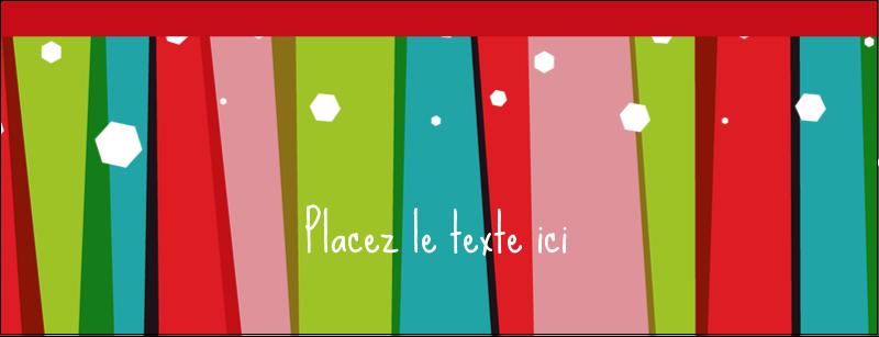 """1-7/16"""" x 3¾"""" Affichette - Rayures de Noël rétro"""